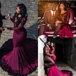 Arabic Sexy Burgundy Prom Dresses for Black Girls Appliques Sequins Open Back Satin Illusion Long Sleeves Mermaid Prom Party Gowns BA7819