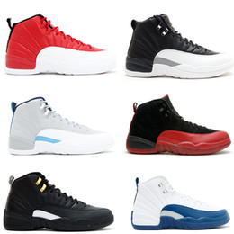 Gym red Barons 12s Wings Mens basketball shoes Flu Game French Blue Sports trainer 12 Sneakers Outdoors WOMEN Athletics Shoes 12 White grey