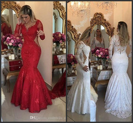 Elegant 2019 Lace Mermaid Evening Dresses With Appliques Long Sleeves Sweep Train Beaded Illusion Bodice Long Dubai Prom Pageant Party Gowns