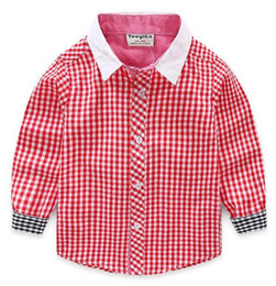 Handsome look Boy Red Checkered Shirt Contrast Color Black Checks Shirts Mix Different Size 10pcs lot