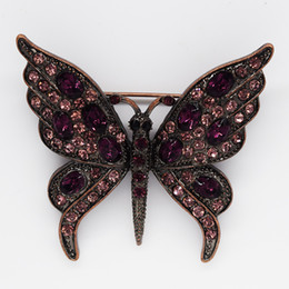Free shipping Wholesale Multicolour Crystal Rhinestone Butterfly Brooches Fashion Costume Pin Brooch jewelry gift C729
