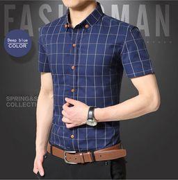 2018 summer men's short sleeved shirt, lattice leisure, thin body, semi sleeved shirt, summer wear, business shirt factory direct sale.
