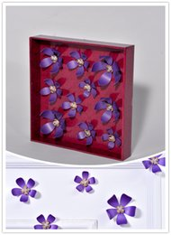 (Promotion: Buy 1 get 1 free)Flower 3D Wall Stickers Purple color(10pcs box) (purple)