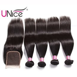 UNice Hair Straight 4 Bundles With Closure Brazilian Remy 100% Human Hair Extensions Hair Weaves Bundle With Lace Closure Unprocessed Silk