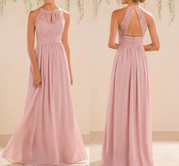 2019 Blush Pink Bridesmaid Dresses Long Country Style Halter Neck Lace Chiffon Full Length A-line Formal Wedding Guest Party Dress Cheap