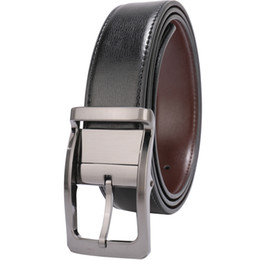 "Belts for Men Genuine Leather Dress Belt Reversible 1.25"" Wide with Rotated Buckle factory cinturon Black Brown Size 28-54 wholesale Belts"