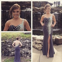 One Shoulder Prom Dresses Crystal Beading Split Sheath Formal Evening Gowns Sexy Long Party Dresses gown