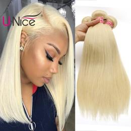 UNice Hair Virgin Brazilian Straight 613 Blonde 4 Bundles 100% Human Hair Extensions Blonde Human Hair Weaves Bundles Wholesale Cheap Bulk