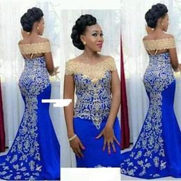 Long Prom Dresses 2018 Modest Mermaid Off Shoulder with Gold Embroidery Floor Length African Women Blue Formal Evening Party Gowns BA9431