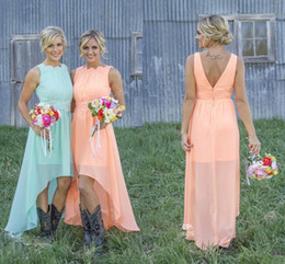 2018 High Low Cheap Country Bridesmaid Dresses Chiffon Coral Mint Green Beach Maid Of Honor Dress For Wedding Party Prom