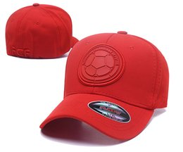 Wholesale Red Color Colombia Soccer Hat 6 Panel Sport Baseball Cap Full Cotton Football Country Team Strapback Hat 2018 World Cup Soccer Cap