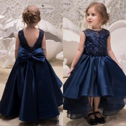 Navy Blue High Low Flower Girl Dresses Princess A Line Appliques Sequins Bow Back Toddler Formal Gowns Birthday Communion Pageant Wear