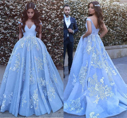 New 2019 Evening Dresses Arabic Off Shoulder Sexy Appliques Lace Sky Blue Prom Dresses Long Formal Evening Gowns