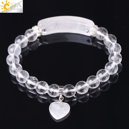 CSJA Natural Stone Bracelets White Quartz Clear Crystal 8mm Bead Bracelet for Women Men Love Heart Cystal Pendulum Chakra Jewelry F277