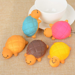 7CM Cute Kawaii Jumbo Squishy Turtle Phone Strap Charms Soft Tortoise Bread Bun Phone Bag Keyring Straps Random Color free shipping 2018 new