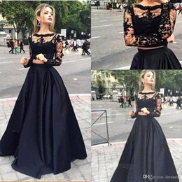 2018 Black Two Pieces Dresses Evening Gowns Sheer Long Sleeves Lace Top Satin A Line Floor Length Prom Dresses Formal Party Dresses