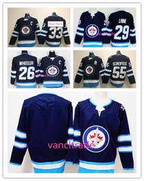 2018 Winnipeg Jets Hockey 29 Patrik Laine 33 Dustin 55 Mark Scheifele 26 Blake Wheeler blank navy blue Jerseys Stitched