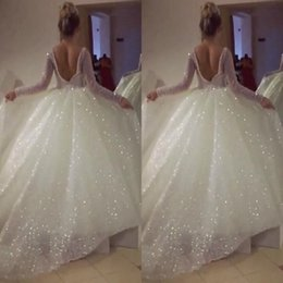 Plus Size Blingbling Arabic Ball Gown Wedding Dresses Long Sleeves Sexy Backless 2018 Custom Made Robe de soriee Vintage