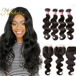 Nadula Peruvian Body Wave Hair 3-4Bundles With 1Free Lace Closure Human Hair Wefts With Lace Closure Human Virgin Hair Weave 20Pcs Wholesale