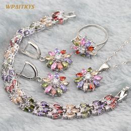 Multi-color Women's Jewelry Sets - Wholesale AAA Zircon Flower Stone Silver Plated Pendant Drop Earrings Ring Bracelet For Women Size 6-10