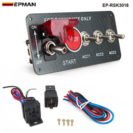 EPMAN - 4 in 1 Carbon Fiber Panel Racing Car Engine Start Push Ignition Switch Toggle Kits EP-RSK3018