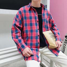 2018 Spring New men Coat Lattice Shirt Lovers Long Sleeve Wind camisa social masculina casual dress mens shirts Free shipping