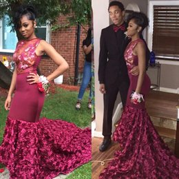 Dark Red Sexy Sheer Crew Neck Mermaid 2019 Prom Dresses Sleeveless Appliqued Beaded Evening Gowns Burgundy Plus Size Party Dress
