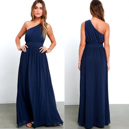 2019 Navy Blue Long Cheap Bridesmaid Dresses One Shoulder A Line Ruched Ruffles Maid Of Honor Prom Gowns BA3598