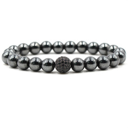 Fashion Black CZ Ball Men Bracelet Natural Stone Matte Beads Charm Bracelets Men Jewelry Yoga pulsera hombres Jewelry