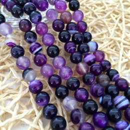 DIY semi-finished products 6mm Purple Stripe Agate Onyx Gem Round Loose Bead 15 inches
