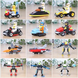 Robort Cars Building Blocks Minifig Air Plane Fire truck police car Optimus Prime action figure Bumblebee crane Raytheon Reconnaissance tank