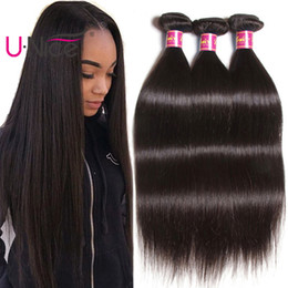 UNice Hair 8A Virgin Peruvian Straight Human Hair 3 Bundles 100% Human Hair Extensions Remy Human Weave Bundles Cheap Wholesale Bulk