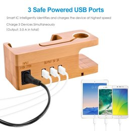 Bamboo Wood Charger 3 USB Ports HUB US EU Plug Desktop Wooden Charging Dock Station Stand Holder for Apple Watch iPhone X 8 7 7S 6s Plus 5s