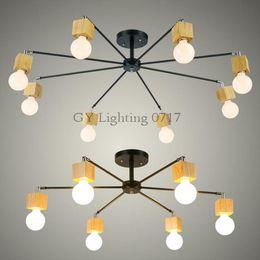wood LED ceiling lights living room bedroom children's room ceiling lamp modern study lustre baby home lighting chandelier fixture