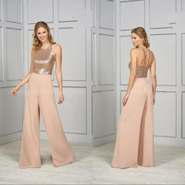 Sequined Jumpsuit For Bridesmaid Sleeveless Backless Ankle Length Wedding Guest Gown Empire Shining Prom Wear Dress