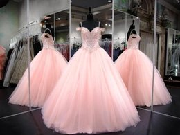 Quinceanera Dresses Ball Gown Corset Crystals Pearls Ruffles Tulle Lace Up Back Pageant Gowns For Girls Sweetheart Prom Dress