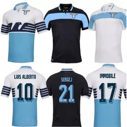 New thai quality Lazio soccer Jersey 18 19 IMMOBILE Home away white shirt JEVIC LUIS ALBRTO BASTA F.ANDERSON black Football shirt uniform