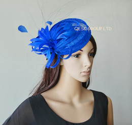 Cobalt royal blue Sinamay hat fascinator mini top hat organza hat w  feather for Derby wedding races.