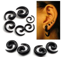 Acrylic Ear Spiral Expanders Black Ear Tapers 100pcs lot Fashion Body Piercing Jewelry 2-20mm New Ear Plugs