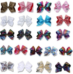 """12 colors JOJO bow 8"""" Barrettes girl Rainbow Bowknot Mermaid barrettes girl headbands Hair bows kids Hairbows Accessory 4th of july 21 Color"""
