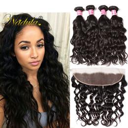 Nadula Brazilian Virgin Hair 4Bundles With Frontal Natural Wave Remy Human Hair Bundle Lace Frontal Human Hair Lace Frontal Bundles Wholesal
