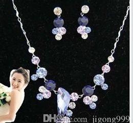 chaming purple diamond crystal birde set lady's necklace earings ghf
