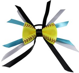 2018 yellow softball baseball basketball flowers robbin bows hair hair clip jewelry gifts for mother girls