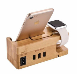 3 Ports 5V 3A USB HUB Bamboo USB Charger Station Wooden Charging Dock Stand Holder Charger Cradle For Apple Watch IPhone IPad Android