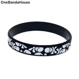 Wholesale 100PCS Lot Printed Logo The Skull in Horizontal Silicone Wristband Bracelet Punk Style Adult Size