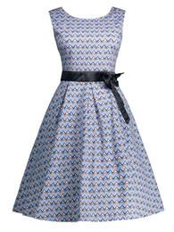 New Women OL Summer Sleeveless OL Dress Fashion Plus Size Cotton Ripple Print Vintage Dress