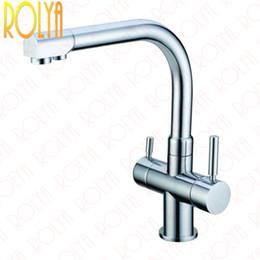 Rolya Ronda Wholesale Chrome Kitchen Faucet Tri Flow Swivel Sink Mixer 3 Way Water Filter Taps