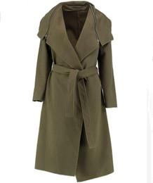 Autumn and winter woolen coat women's wear belt zipper decorated big code windbreaker