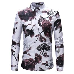 New fashion comfort breathable men's long-sleeve shirt, water ink floral design casual shirt