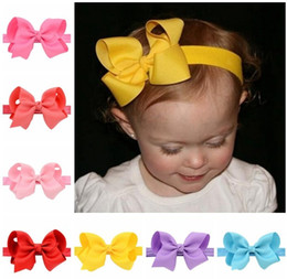 Baby Infant Bow Headbands 4 Inch Grosgrain Ribbon Boutique Bows Headbands Girls Elastic Hairbands Hair Accessories Baby Bow Headwear